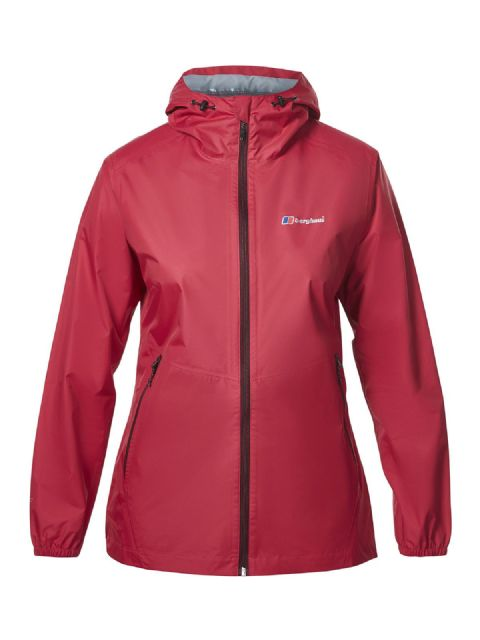 Berghaus Womens Deluge Light Shell Jacket - Fully Waterproof - Highly Packable - Dark Cerise